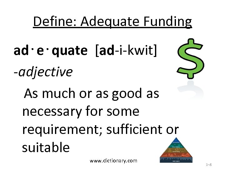 Define: Adequate Funding ad⋅e⋅quate [ad-i-kwit] -adjective As much or as good as necessary for