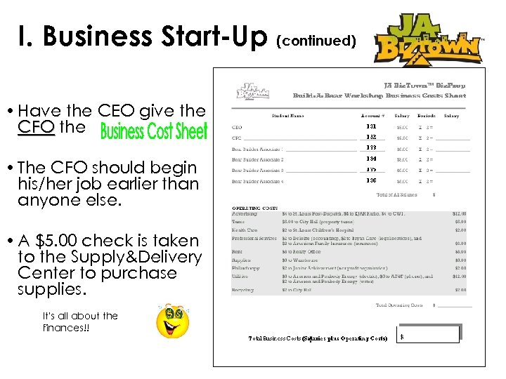 I. Business Start-Up (continued) • Have the CEO give the CFO the • The