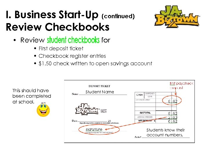 I. Business Start-Up (continued) Review Checkbooks • Review for • First deposit ticket •
