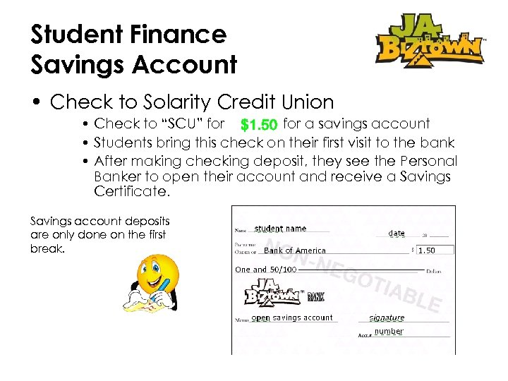 """Student Finance Savings Account • Check to Solarity Credit Union • Check to """"SCU"""""""