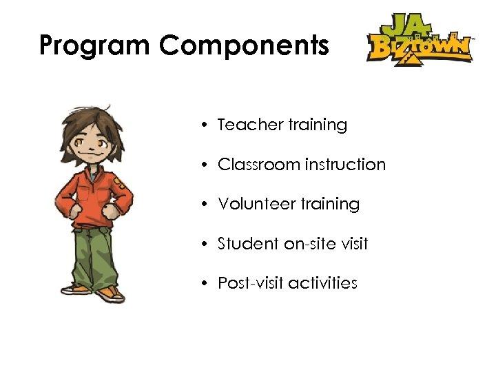 Program Components • Teacher training • Classroom instruction • Volunteer training • Student on-site