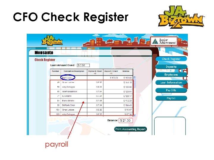CFO Check Register payroll