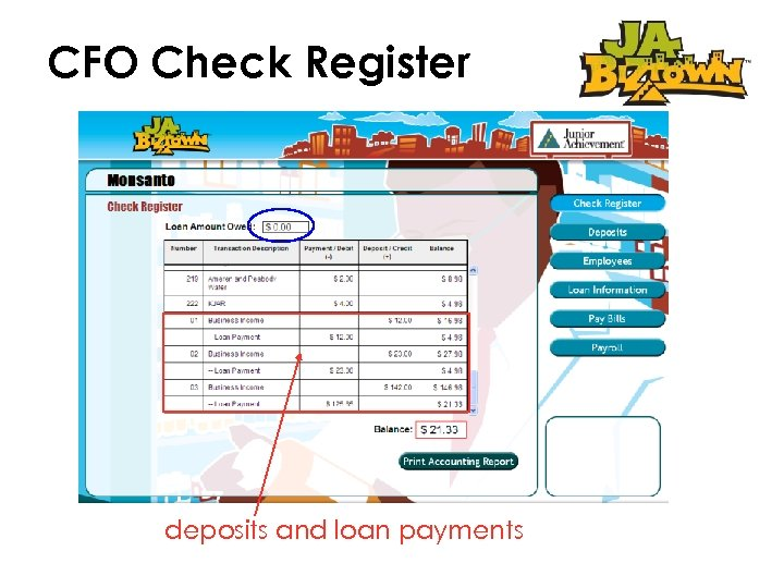 CFO Check Register deposits and loan payments