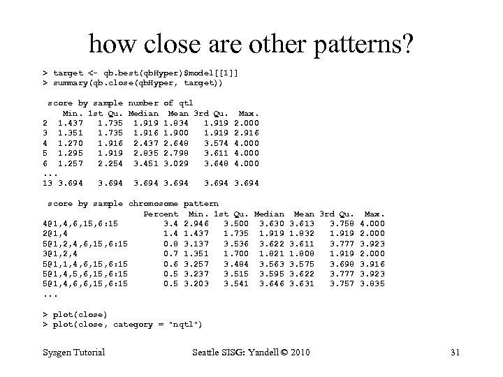 how close are other patterns? > target <- qb. best(qb. Hyper)$model[[1]] > summary(qb. close(qb.