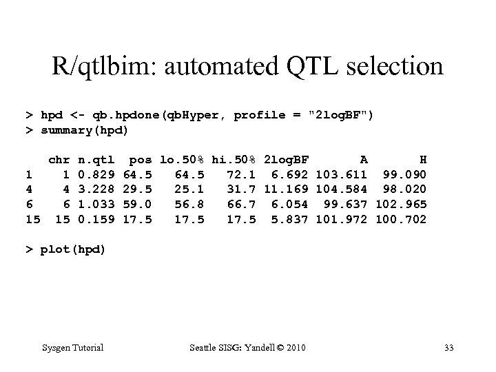 R/qtlbim: automated QTL selection > hpd <- qb. hpdone(qb. Hyper, profile =