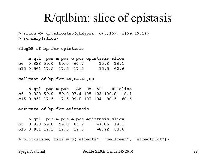 R/qtlbim: slice of epistasis > slice <- qb. slicetwo(qb. Hyper, c(6, 15), c(59, 19.