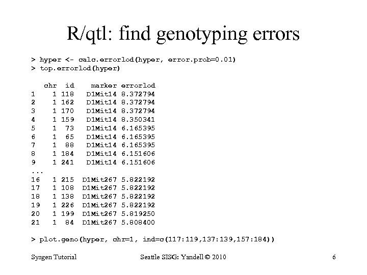 R/qtl: find genotyping errors > hyper <- calc. errorlod(hyper, error. prob=0. 01) > top.