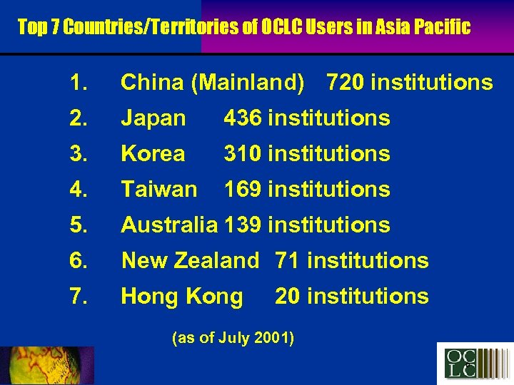 Top 7 Countries/Territories of OCLC Users in Asia Pacific 1. China (Mainland) 720 institutions