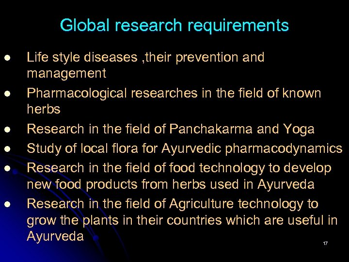 Global research requirements l l l Life style diseases , their prevention and management