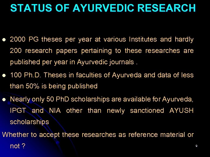 STATUS OF AYURVEDIC RESEARCH l 2000 PG theses per year at various Institutes and