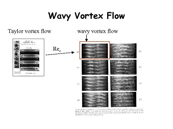 Wavy Vortex Flow Taylor vortex flow wavy vortex flow Rec