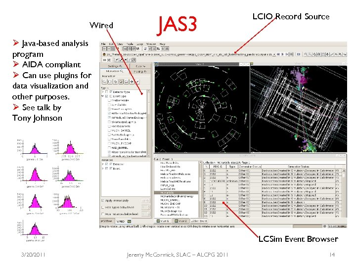 Wired JAS 3 LCIO Record Source Ø Java-based analysis program Ø AIDA compliant Ø