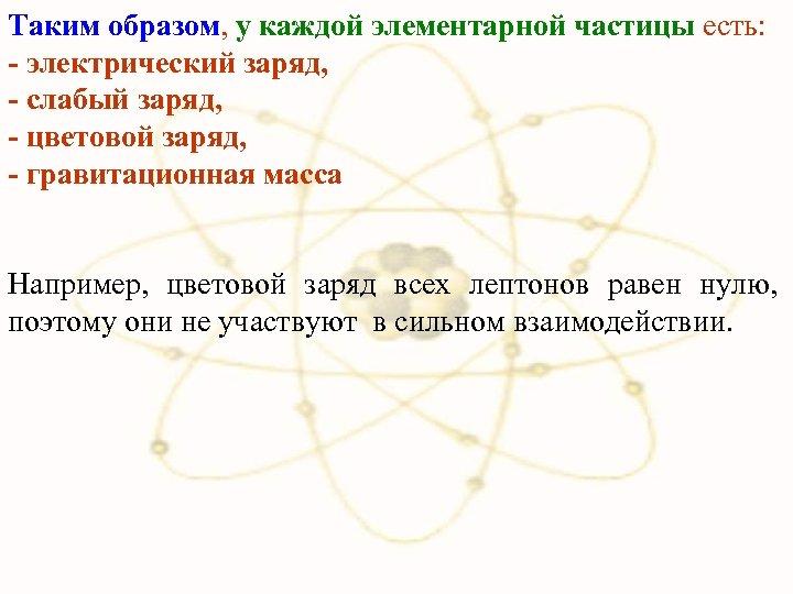 Таким образом, у каждой элементарной частицы есть: - электрический заряд, - слабый заряд, -