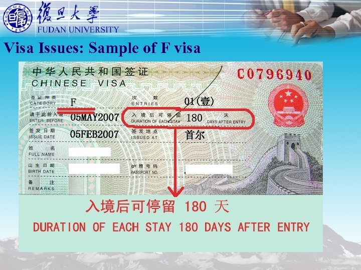 Visa Issues: Sample of F visa