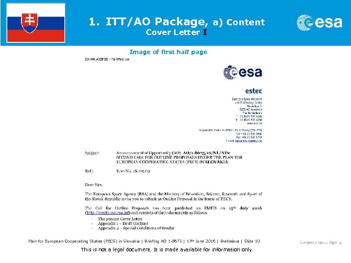 1. ITT/AO Package, a) Content Cover Letter I Image of first half page Plan