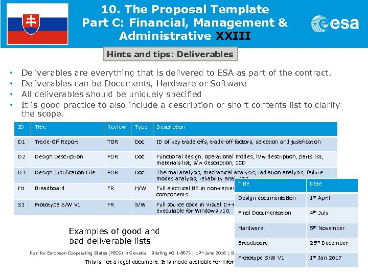10. The Proposal Template Part C: Financial, Management & Administrative XXIII Hints and tips: