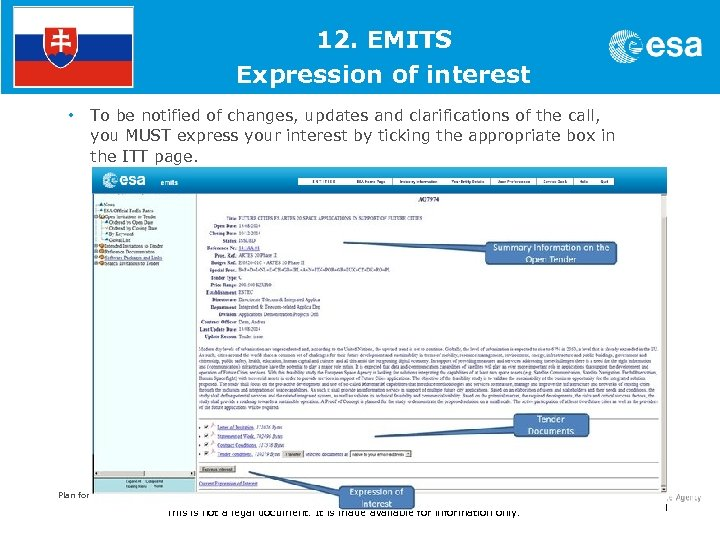 1. 12. EMITS Expression of interest • To be notified of changes, updates and