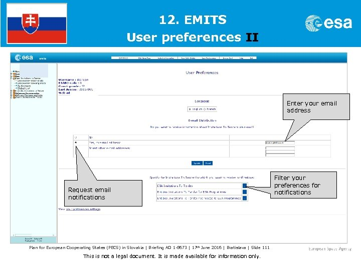 1. 12. EMITS User preferences II Enter your email address Request email notifications Plan