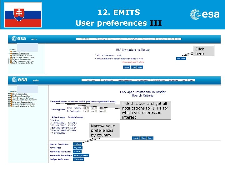1. 12. EMITS User preferences III Click here Tick this box and get all