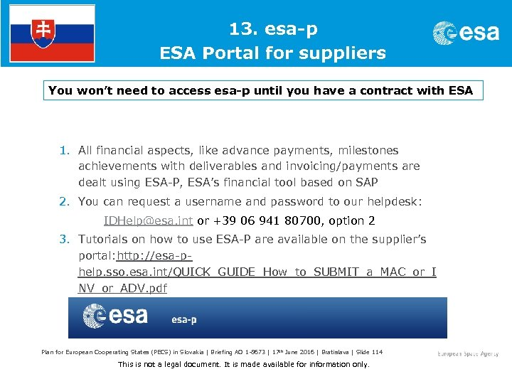 1. 13. esa-p ESA Portal for suppliers You won't need to access esa-p until