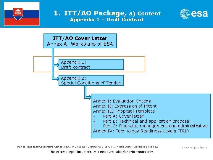 1. ITT/AO Package, a) Content Appendix 1 – Draft Contract ITT/AO Cover Letter Annex