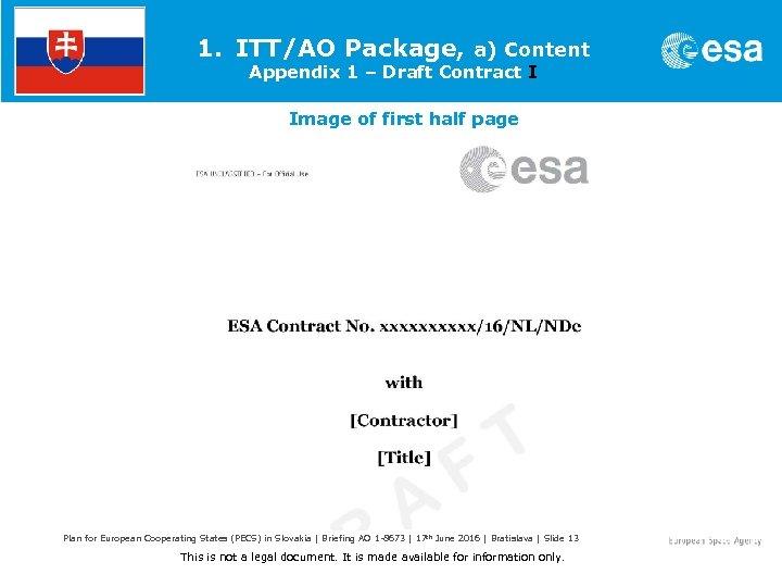 1. ITT/AO Package, a) Content Appendix 1 – Draft Contract I Image of first