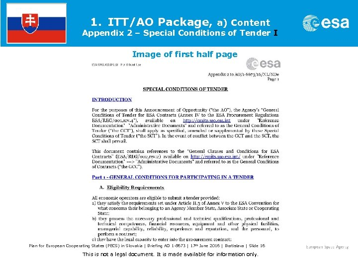 1. ITT/AO Package, a) Content Appendix 2 – Special Conditions of Tender I Image