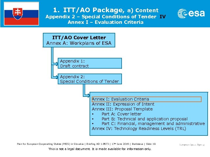 1. ITT/AO Package, a) Content Appendix 2 – Special Conditions of Tender IV Annex
