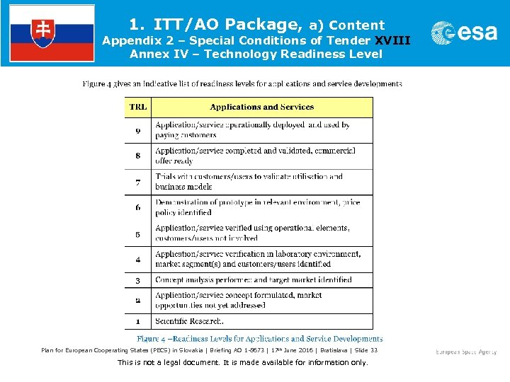1. ITT/AO Package, a) Content Appendix 2 – Special Conditions of Tender XVIII Annex