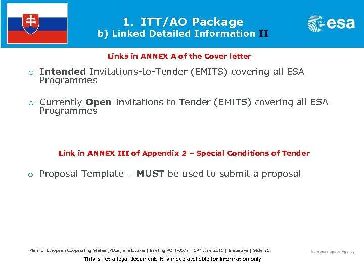 1. ITT/AO Package b) Linked Detailed Information II Links in ANNEX A of the