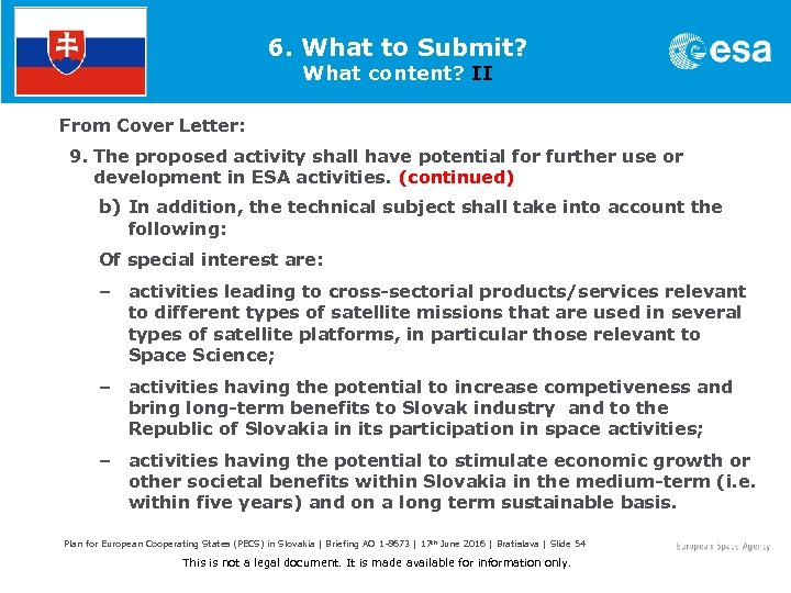 6. What to Submit? What content? II From Cover Letter: 9. The proposed activity