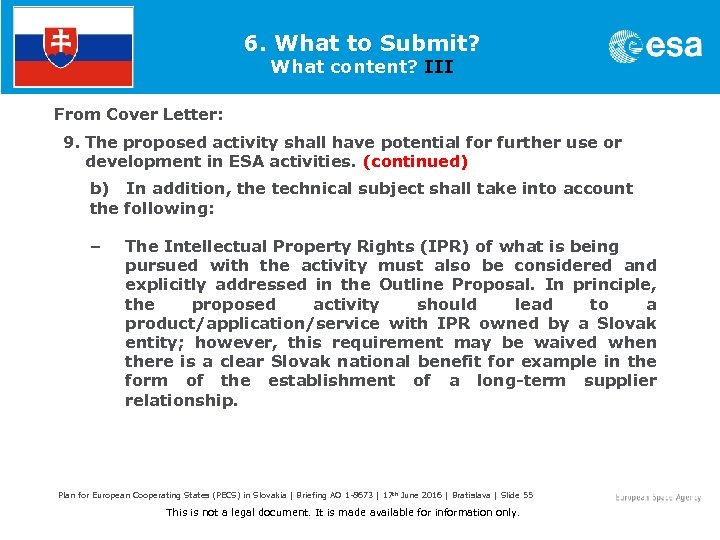 6. What to Submit? What content? III From Cover Letter: 9. The proposed activity