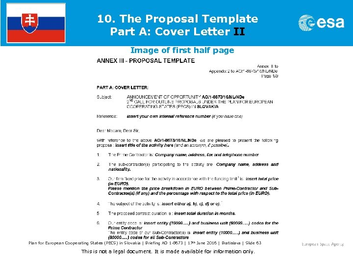 10. The Proposal Template Part A: Cover Letter II Image of first half page