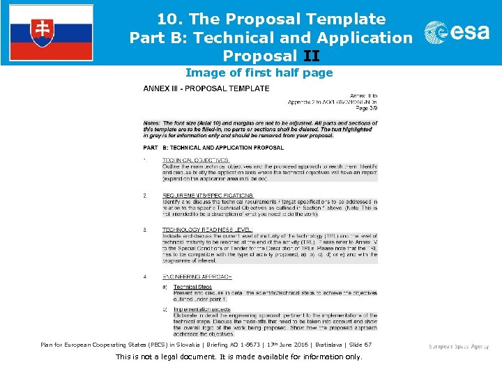 10. The Proposal Template Part B: Technical and Application Proposal II Image of first