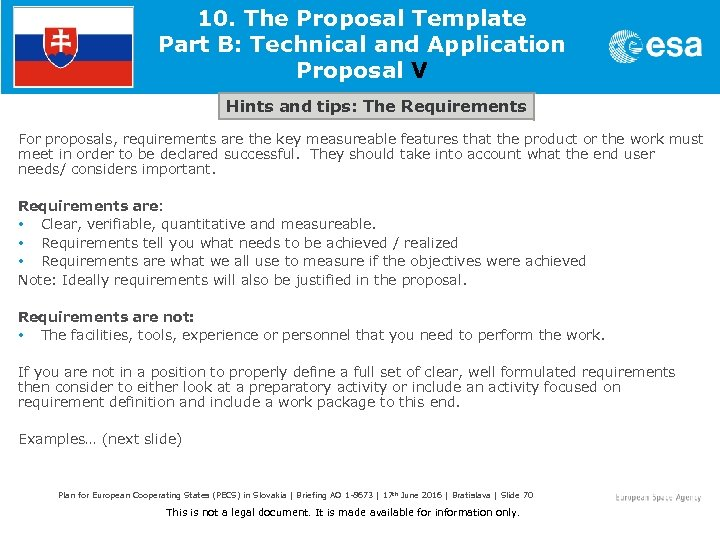 10. The Proposal Template Part B: Technical and Application Proposal V Hints and tips: