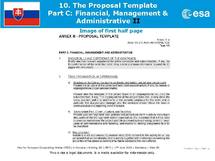 10. The Proposal Template Part C: Financial, Management & Administrative II Image of first
