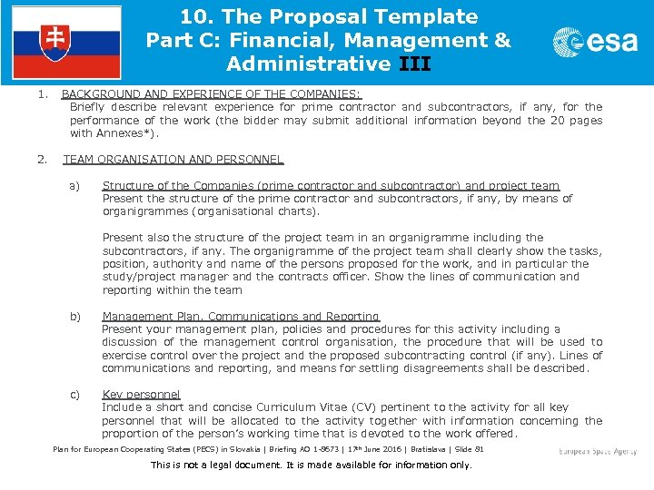 10. The Proposal Template Part C: Financial, Management & Administrative III 1. BACKGROUND AND