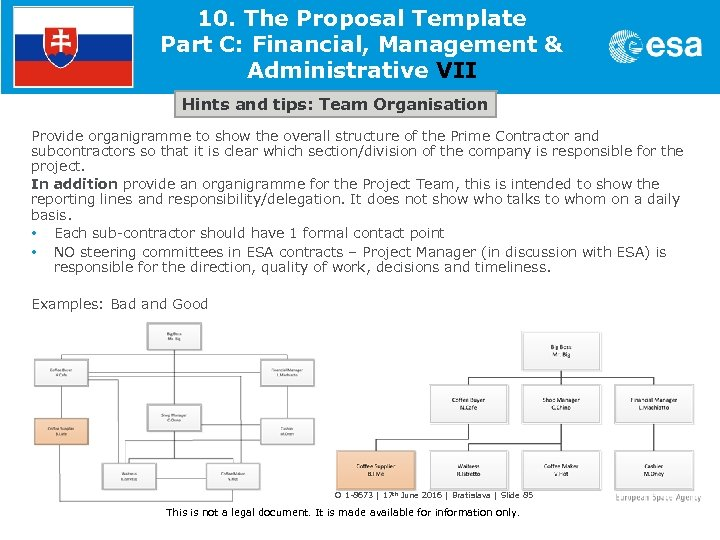 10. The Proposal Template Part C: Financial, Management & Administrative VII Hints and tips: