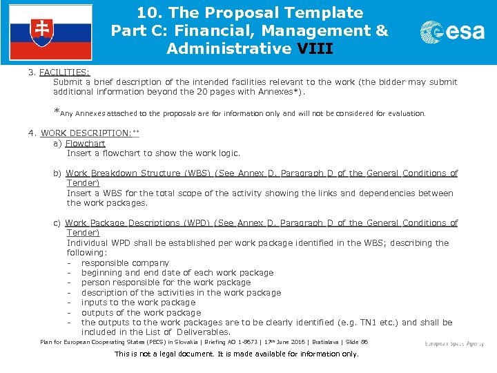 10. The Proposal Template Part C: Financial, Management & Administrative VIII 3. FACILITIES: Submit