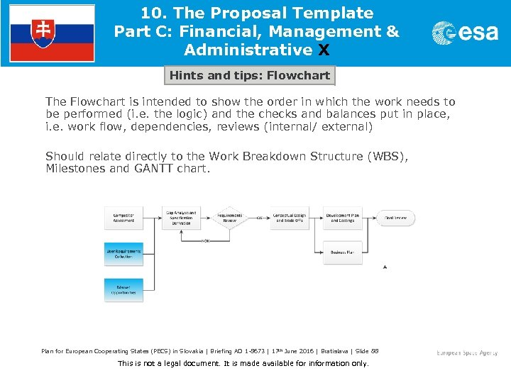 10. The Proposal Template Part C: Financial, Management & Administrative X Hints and tips: