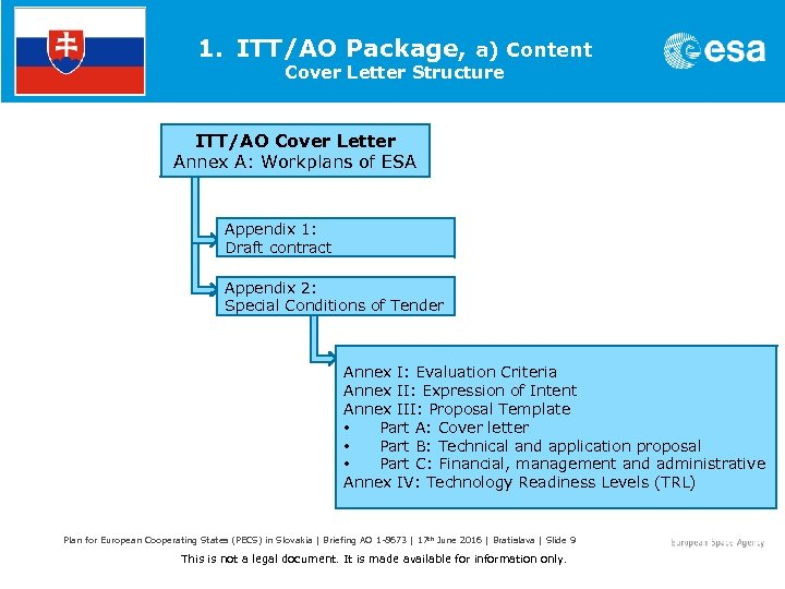 1. ITT/AO Package, a) Content Cover Letter Structure ITT/AO Cover Letter Annex A: Workplans