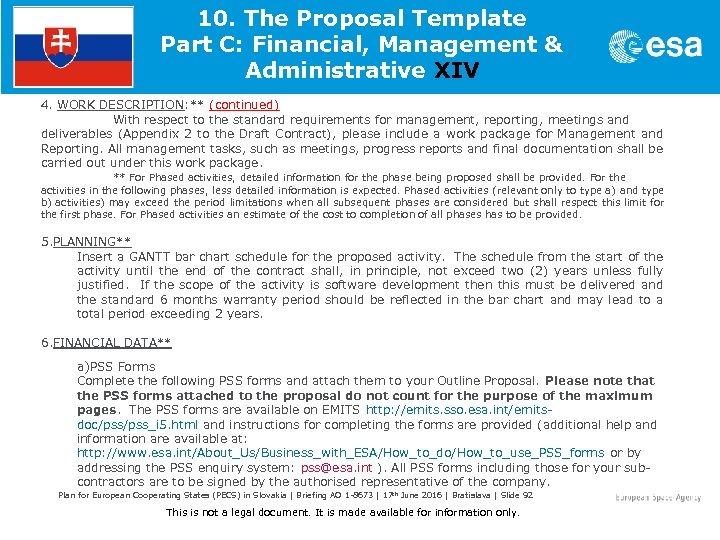 10. The Proposal Template Part C: Financial, Management & Administrative XIV 4. WORK DESCRIPTION: