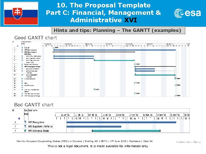 10. The Proposal Template Part C: Financial, Management & Administrative XVI Hints and tips: