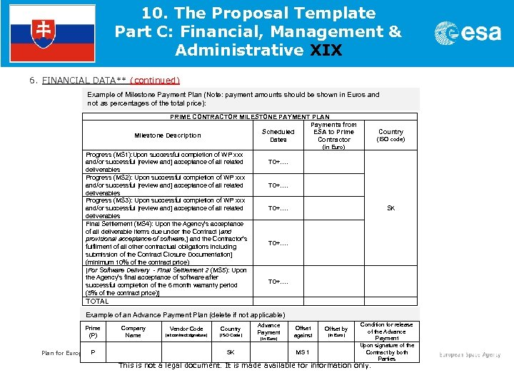 10. The Proposal Template Part C: Financial, Management & Administrative XIX 6. FINANCIAL DATA**