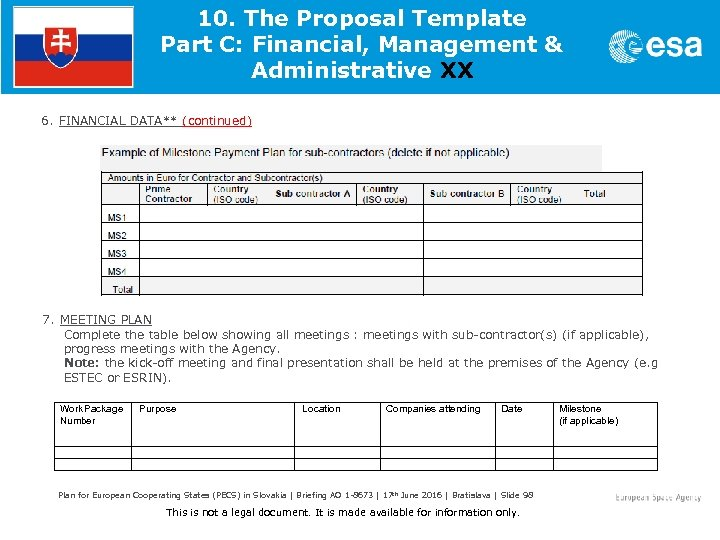 10. The Proposal Template Part C: Financial, Management & Administrative XX 6. FINANCIAL DATA**