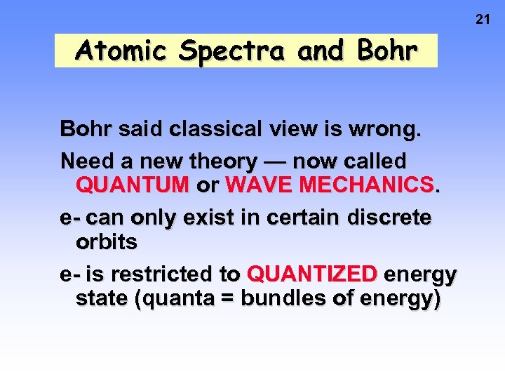 21 Atomic Spectra and Bohr said classical view is wrong. Need a new theory
