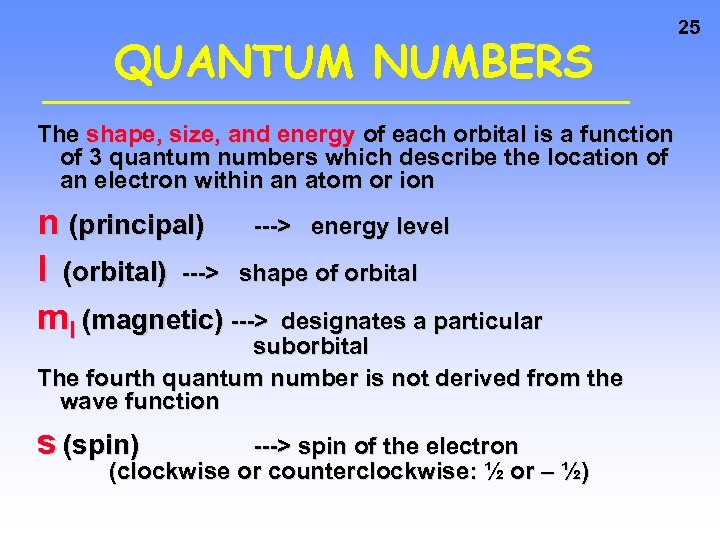 QUANTUM NUMBERS The shape, size, and energy of each orbital is a function of