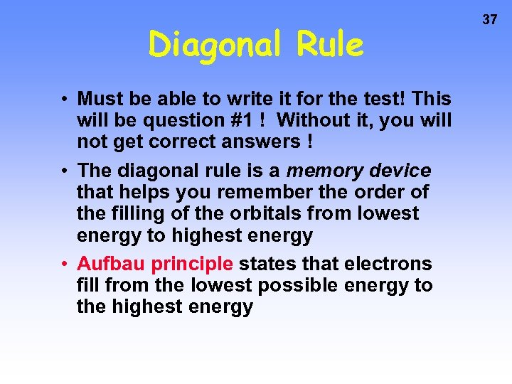 Diagonal Rule • Must be able to write it for the test! This will