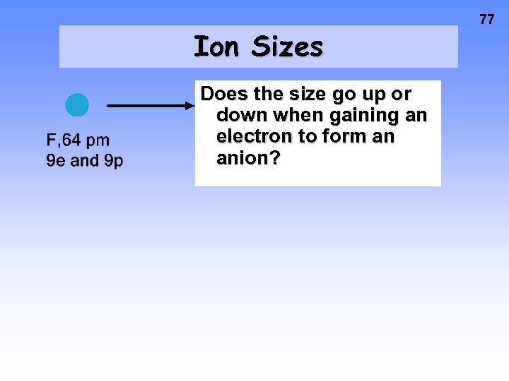 Ion Sizes Does the size go up or down when gaining an electron to