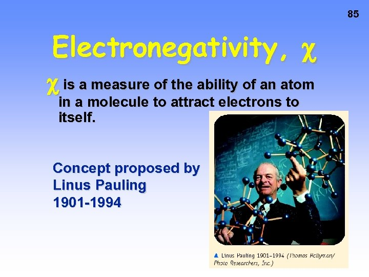 85 Electronegativity, is a measure of the ability of an atom in a molecule
